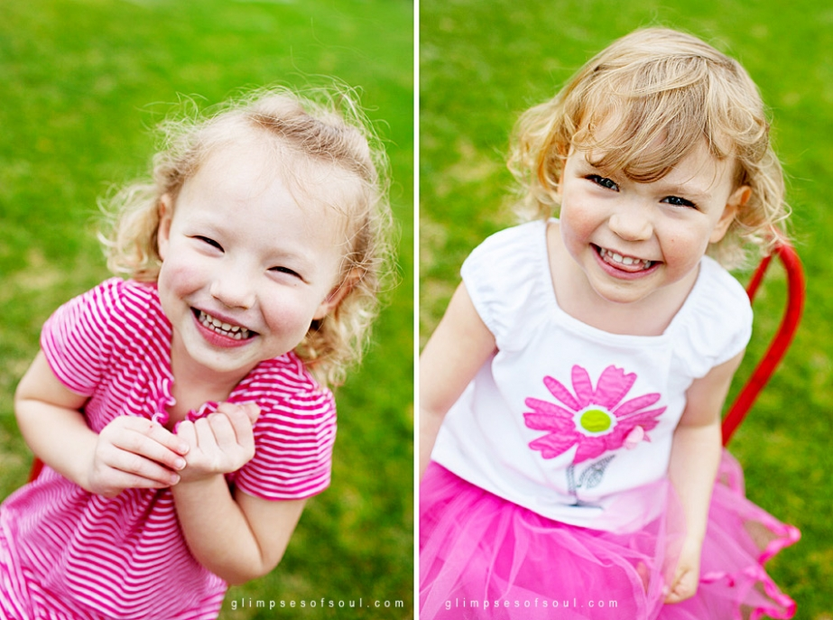 girls smiling for preschool photos