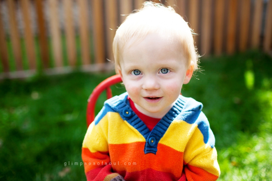 boy in bright sweater