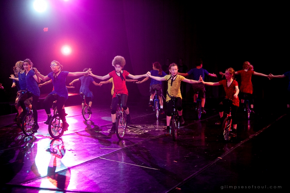 kids on unicycles