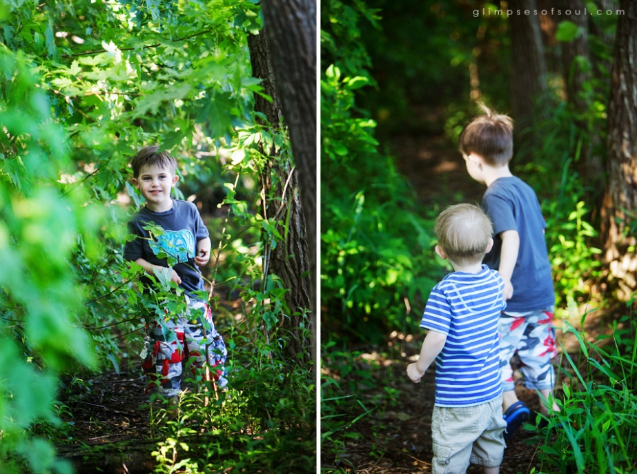 boys exploring woods