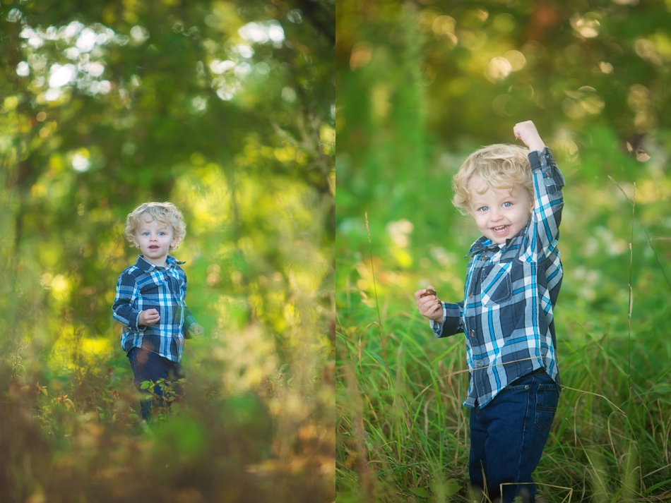 blonde boy in woods