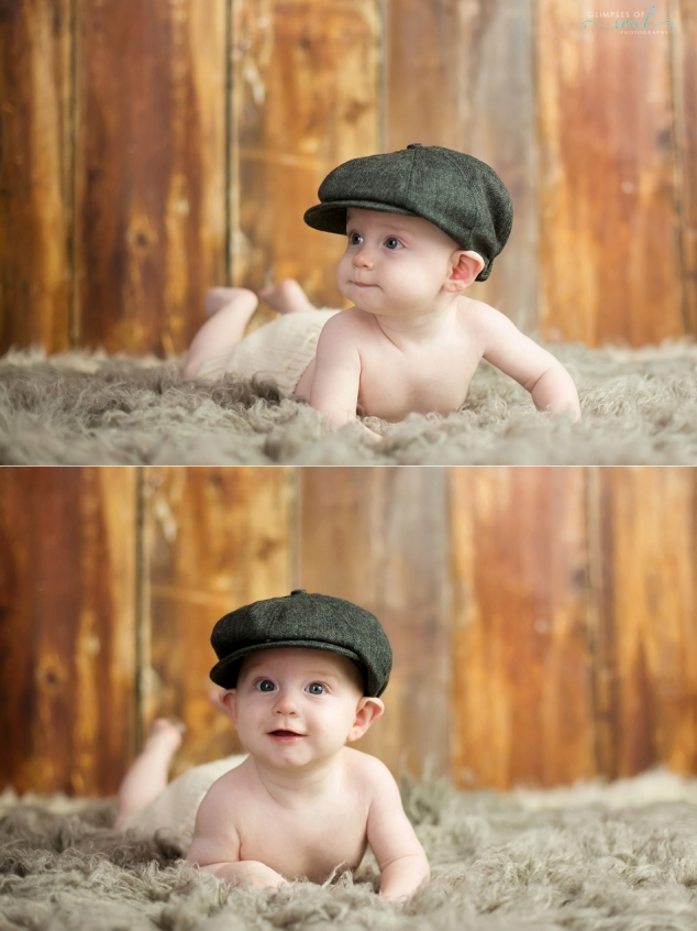 baby wearing newsboy cap