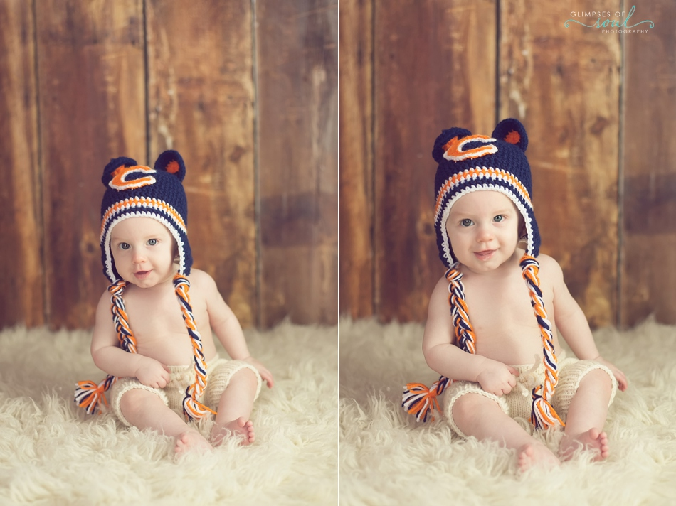baby in chicago bears hat