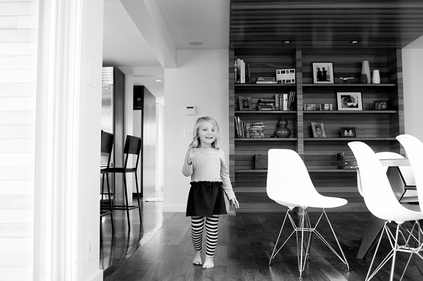 girl inside midcentury modern home