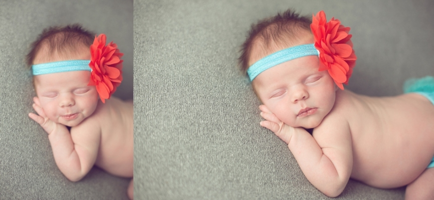 newborn in peach flower headband
