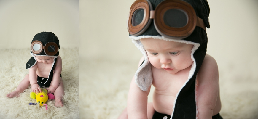 6 month old baby in aviator hat