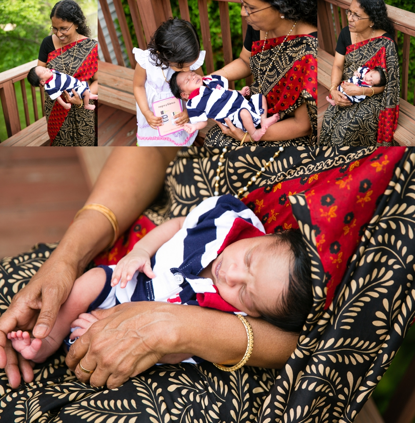 Indian grandmother holds newborn grandson