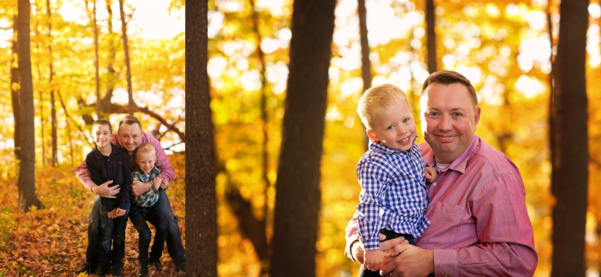 father and sons fall portrait