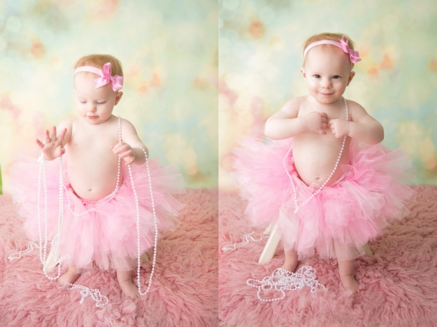 baby in pink tutu and pearls