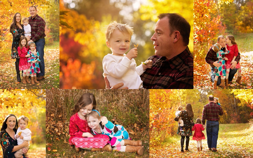 family of five in fall photos