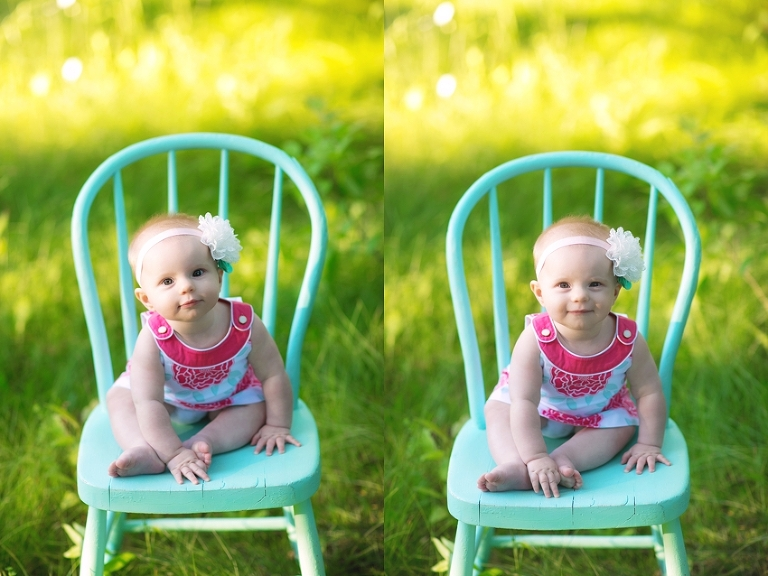 six month old baby girl sitting on chair